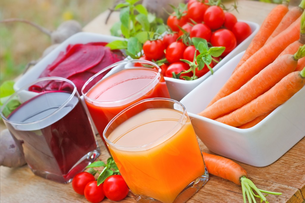 Freshly squeezed juices from organic vegetables