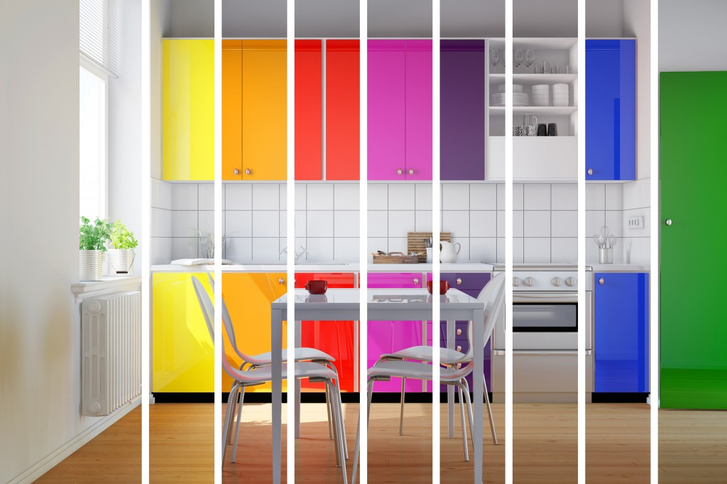 Colorful kitchen in rainbow stripes as color selection for inter